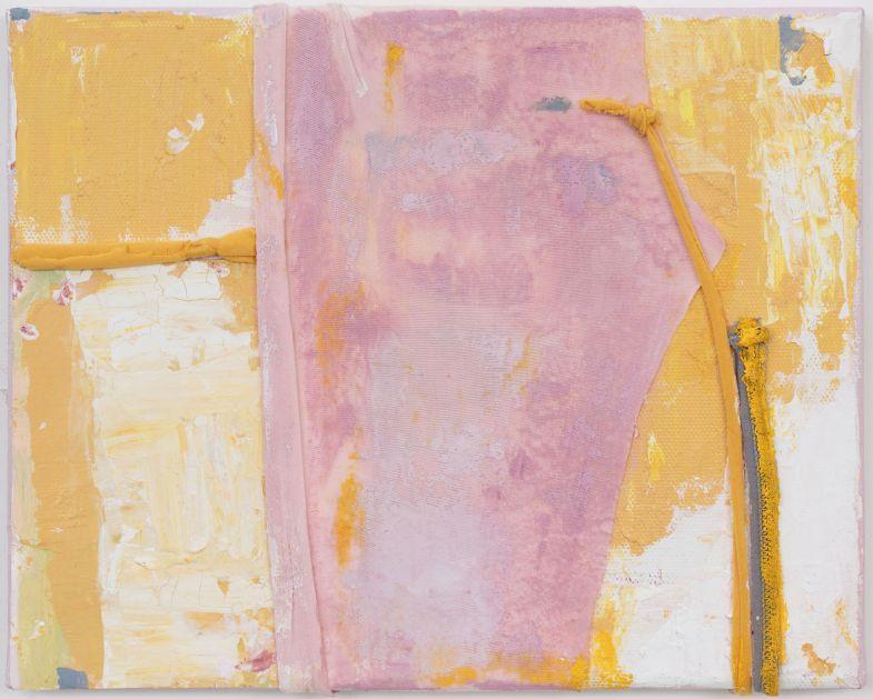 Anna Caione  Giallo e Rosa II, 2018, fabric _ Acrylic on canvas, 25cm x 20cm