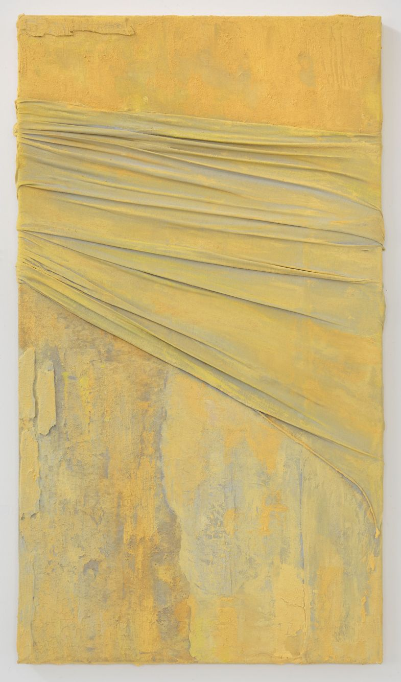 2. Anna Caione Yellow Pull _ Wrap II, 2018, Fabric _ Mixed media on canvas, 92cm x 51cm