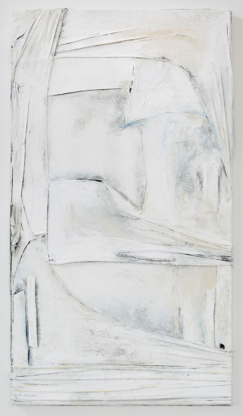 4.Anna Caione White On White II, 2018, fabric, pigment _ mixed media on canvas, 92cm x 51cm