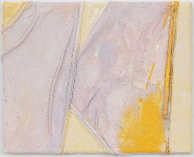 Anna Caione  Giallo e Rosa III, 2018, fabric _ Acrylic on canvas, 25cm x 20cm