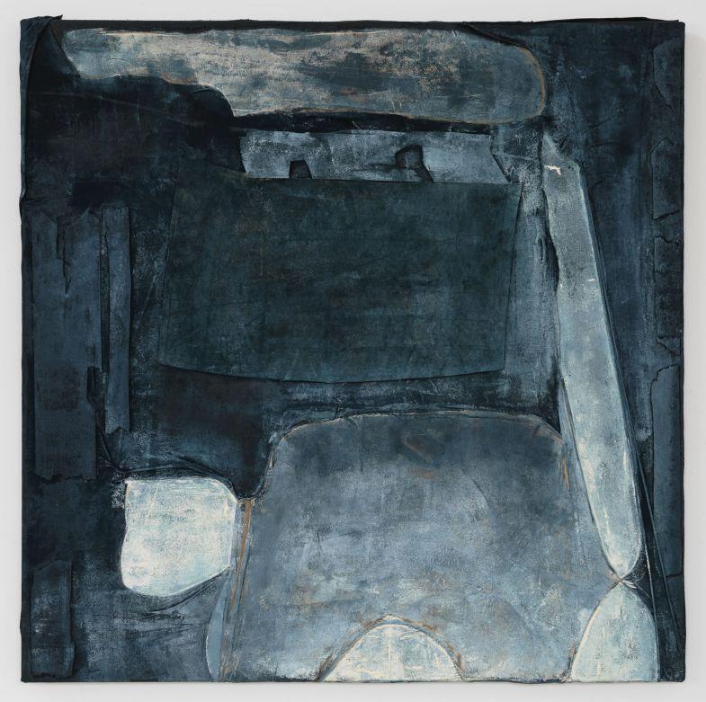 Anna Caione Gesto Blu,2018, fabric _ Mixed media on canvas, 100cm x 100cm