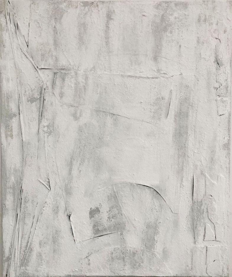 Anna Caione, 2020, Pezzi Bianchi Pigemnt acrylic paint, mixed media on canvas 120cmx100cm
