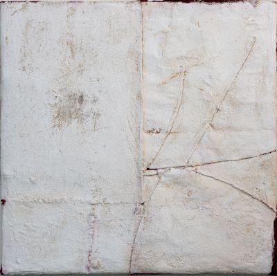 Anna-Caione-White-#49,-2018,-fabric,-pigment-_-mixed-media-on-canvas,-100cm x 100cm