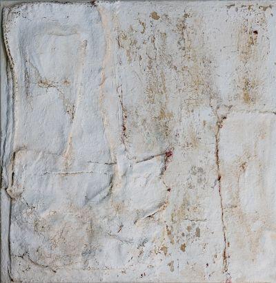 Anna-Caione-WHITE-#54,-2019,-fabric,-pigment-_-mixed-media-on-canvas,-100cm x 100cm