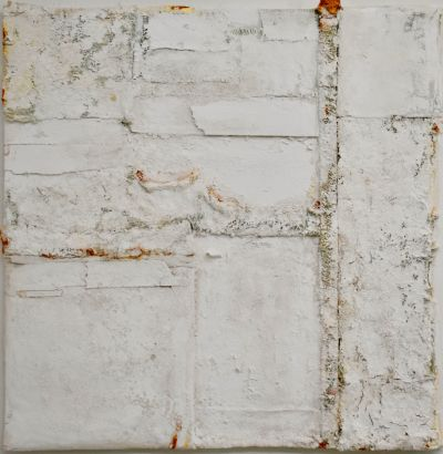 Anna Caione WHITE #7, 2019, Fabric, pigment _ mixed media on canvas, 100cmx100cm
