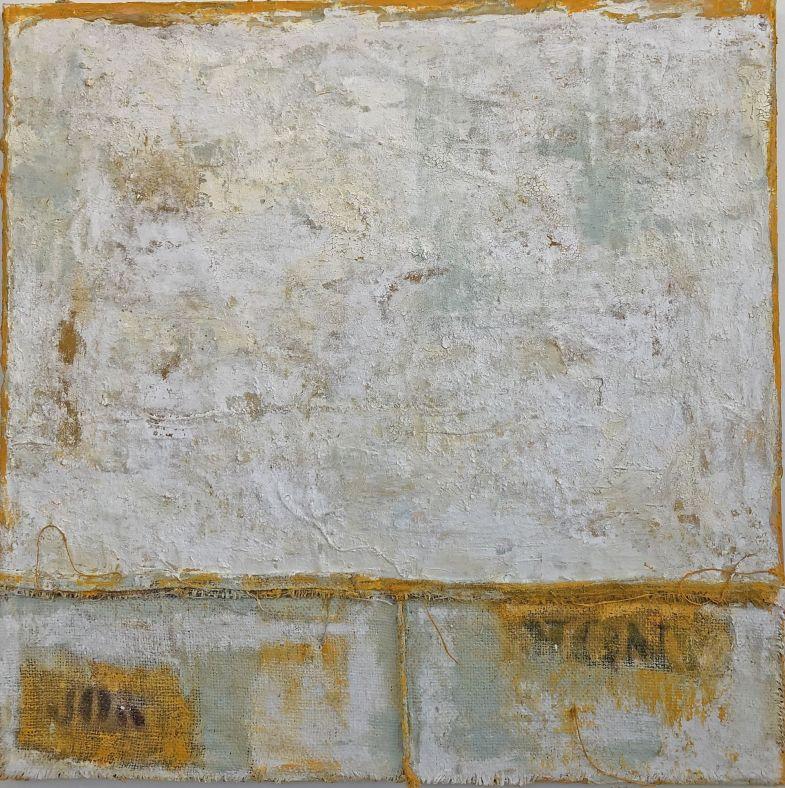 1.Anna Caione Diviso 2018, fabric _ mixed media on canvas, 100cmx100cm