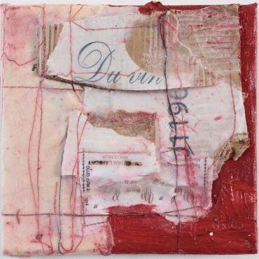 1. Du Vin, 2012, 15 x 15cm, Mixed media, cardboard, string on canvas