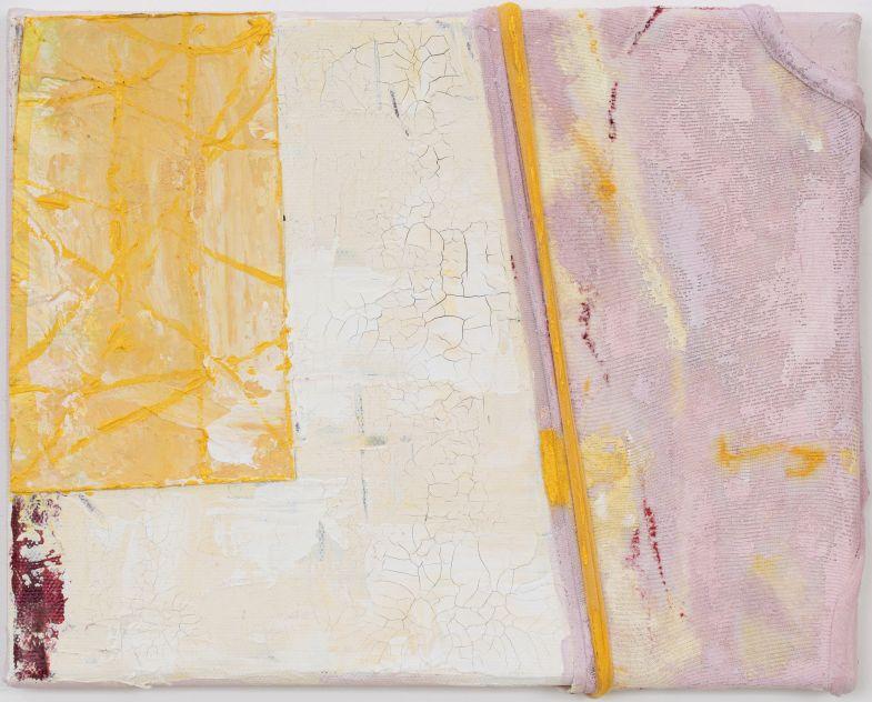 Anna Caione  Giallo e Rosa I, 2018, fabric & Acrylic on canvas, 25cmx20cm