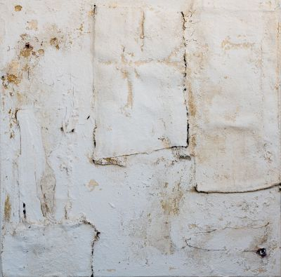 Anna-Caione-White-#83,-2018,-fabric,-pigment-&-mixed-media-on-canvas,-100cmx100cm