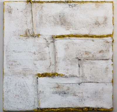 Anna-Caione-White-#13,-2018,-fabric,-pigment-&-mixed-media-on-canvas,-100cmx100cm