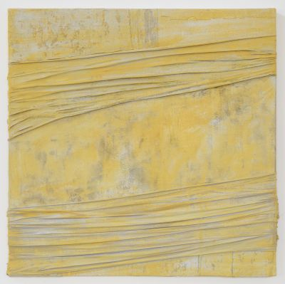 1.Anna Caione Yellow Pull & Wrap, 2018, Fabric & Mixed media on canvas, 100cmx100cm